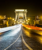 Chain bridge at night, Budapest, Hungary Royalty Free Stock Image