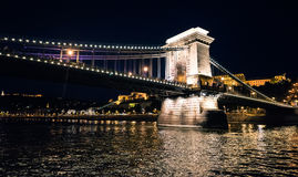 Chain Bridge at night in Budapest Stock Photography