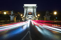 Chain Bridge By Night, Budapest Stock Images
