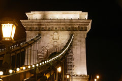 Chain Bridge. A night shot of the Szechenyi Chain Bridge in Budapest, Hungary Stock Images