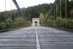 Chain bridge. Old chain bridge over the river Luznice near the village Stadlec, Czech republic Stock Images