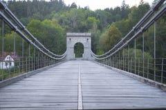 Chain bridge. Old chain bridge over the river Luznice near the village Stadlec, Czech republic Royalty Free Stock Photo