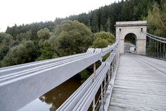 Chain bridge. Old chain bridge over the river Luznice near the village Stadlec, Czech republic Royalty Free Stock Photos
