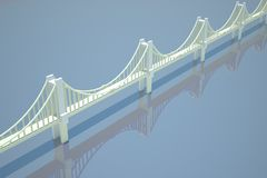 Chain bridge over blue river - drawing Royalty Free Stock Photo
