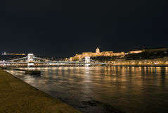 Chain bridge over Danube in Budapest Royalty Free Stock Images