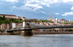 Chain Bridge over Danube river Royalty Free Stock Photography