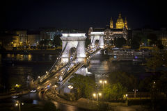Chain Bridge over Danube river, Budapest cityscape Royalty Free Stock Photos