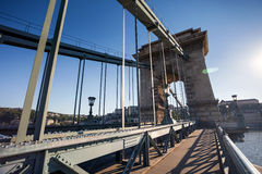 Chain Bridge over Danube river, Budapest cityscape Stock Image