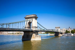 Chain Bridge over Danube river, Budapest cityscape Stock Photography
