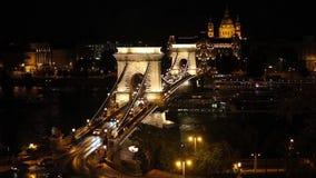 Chain Bridge over Danube river in Budapest stock video footage