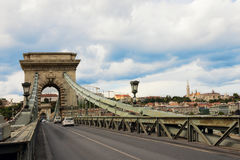 The Chain Bridge over Danube river in Budapest, Hungary Royalty Free Stock Images