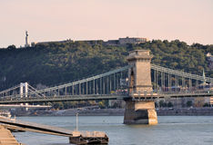 The chain bridge over the Danube river Stock Images