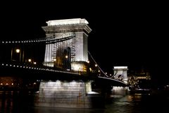 Chain Bridge over Danube river at night. Royalty Free Stock Images