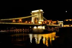 Chain Bridge over Danube river at night, Budapest, Hungary Royalty Free Stock Image