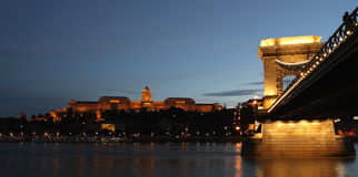 Chain bridge over the Danube with the sight of the Royalty Free Stock Image