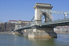Chain Bridge over River Danube Stock Photos