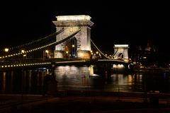 The Chain Bridge over the river Danube at Budapest by night, Hun Stock Images