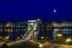 Chain Bridge over the River Danube on a moonlit night Stock Photo