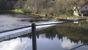 Chain bridge over the river Vltava stock video footage