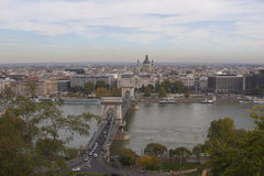 Chain Bridge Panorama in Budapest from Buda Hill. Panoramic shot of Budapest from the Buda side of the Danube River Stock Photos