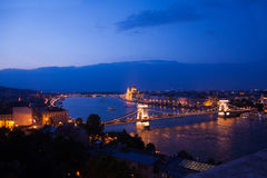 Chain bridge panorama view at night in Budapest Royalty Free Stock Photography