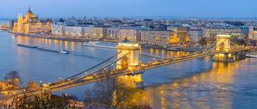 Chain Bridge and Parliament building in Budapest Royalty Free Stock Photography