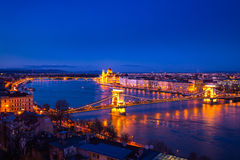 Chain bridge and Parliament building in Budapest, Hungary. At sunset Stock Photography