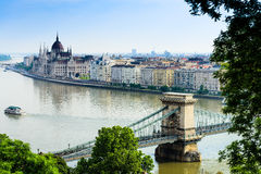 Chain Bridge and Parliament of Hungary Royalty Free Stock Photography