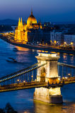 Chain Bridge an Parliament, night in Budapest Royalty Free Stock Image