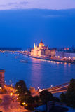 Chain Bridge and parliament panorama in Budapest Royalty Free Stock Photography