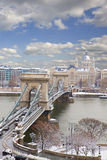 Chain Bridge and Pest skyline at day ,Budapest Stock Photo