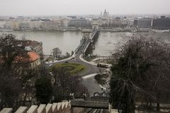 The Chain Bridge and Pest taken from Buda. February 6th 2018 - Budapest Hungary - The Chain Bridge viewed from the Castle District of Buda royalty free stock images