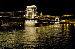 Chain bridge and Royal Palace Royalty Free Stock Photography