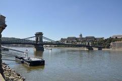 Chain Bridge and Royal Palace, Bubapest. Royalty Free Stock Photo