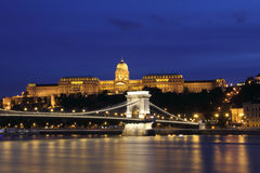 Chain Bridge, Royal Palace and Danube river Stock Images