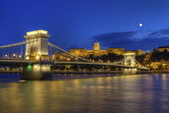 Chain Bridge, Royal Palace and Danube river in Budapest, Hungary, HDR Stock Image