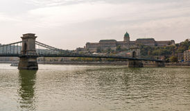 Chain Bridge, Royal Palace and Danube river in Budapest, Hungary Stock Photography