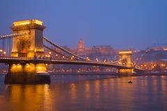 Budapest landmarks at night, Hungary Royalty Free Stock Images