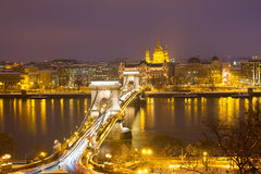 Chain Bridge and skyline of Pest, Budapest Royalty Free Stock Photography