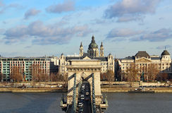 Chain Bridge and St. Stephen's Basilica, Budapest Stock Photography