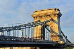 Chain bridge on sunset Royalty Free Stock Images