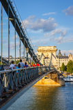 Chain bridge is a suspension bridge that spans the River Danube between Buda and Pest Royalty Free Stock Photos