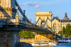 Chain bridge is a suspension bridge that spans the River Danube between Buda and Pest Stock Images