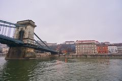 Bridge Szechenji in Budapest. Royalty Free Stock Photography