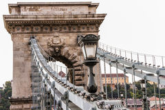 Chain Bridge. The Szechenyi Chain Bridge over the Danube in Budapest, Hungary Royalty Free Stock Image