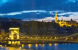 Chain Bridge to St. Matthias Church Royalty Free Stock Photos