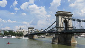 Chain Bridge. Very old chain bridge in Budapest, Hungary Royalty Free Stock Images