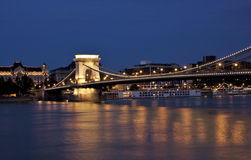 Chain bridge view at night, Budapest Royalty Free Stock Images