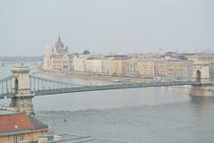 Chain Bridge with view of Parliament in Budapest Royalty Free Stock Images