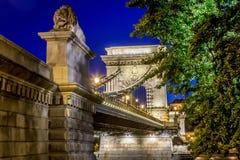Chain bro över Donauen Royaltyfria Bilder
